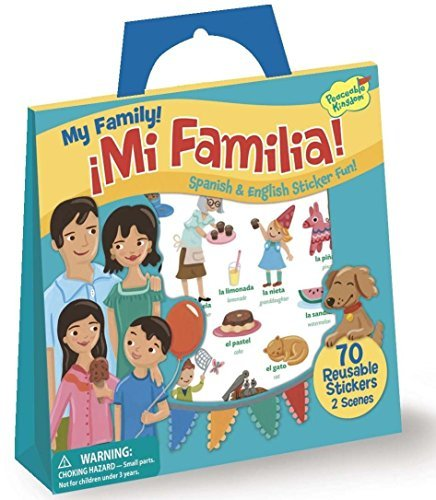 Peaceable Kingdom My Family! ~ Mi Familia! Spanish and English Reusable Sticker Tote