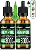 2x30ml - Hemp Oil Leaf Extract 3000mg Natural for Pain Anxiety & Stress Relief, Better Sleep & Mood, Organic Supercritical CO2 Extraction Sufficient Effect Strength Drops