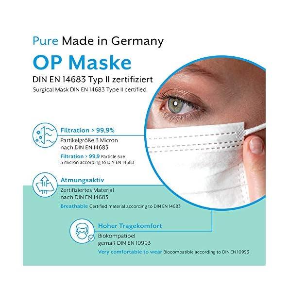 EUMEPRO-Weie-OP-Maske-Typ-II-Pure-Made-in-Germany-50-Stck-DIN-EN-14683-Typ-II-zertifiziert-999-Bakterielle-Filtrations-Effizienz-I-Chirurgische-Einweg-Masken-als-Mund-Nasen-Schutz