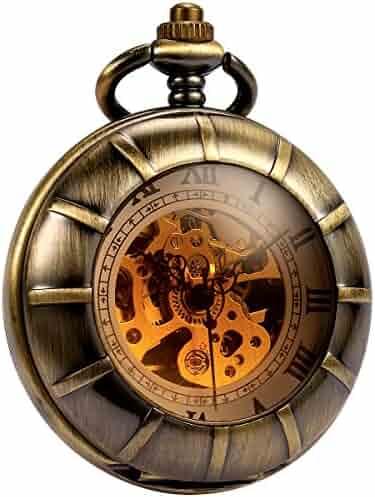 Smart.Deal Magnifier Men Pocket Watch Skeleton Mechanical Double Cover Bronze Roman Numerals Hand Wind
