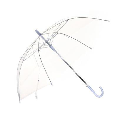 ZHUSAN Paraguas Mango Largo con 8 Costillas Transparente Gancho Curvado Fuerte Cortavientos Grande Plegable Simple para