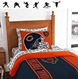 New NFL CHICAGO BEARS 5pc TWIN Size Comforter. Pillow Sham and Sheet Set + WALL DECALS