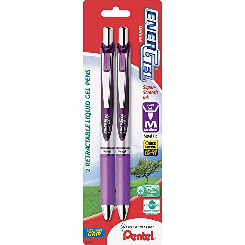 Pentel of America, Ltd BL77BP2V Gel Pen,Retractable,Metal Tip, Med.Pt,2/PK,Violet - Ltd Pen America