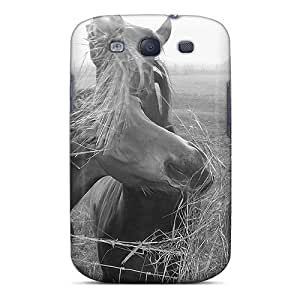 Anti-scratch And Shatterproof Dog Walk Encounter With Horses Phone Case For Galaxy S3/ High Quality Tpu Case