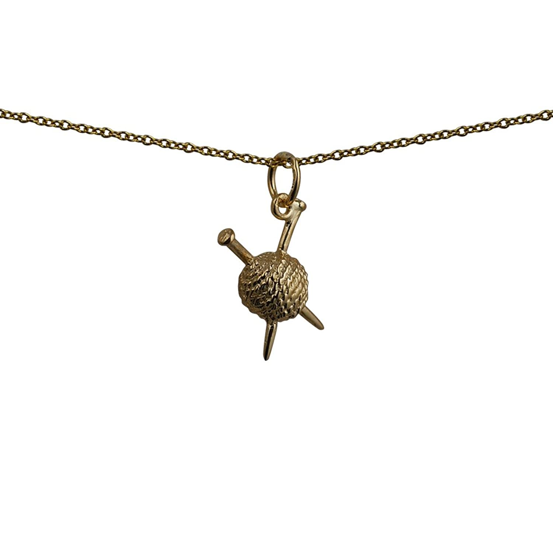 Oro amarillo 9ct–375/100016x 12mm bola de lana y agujas de tejer colgante con cadena Cable
