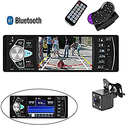 Camecho Single Din Car Stereo Radio 4.1'' TFT Screen Parking Assistance in-Dash Bluetooth USB/SD/FM MP5 Player with Waterproof Night Vision Backup Camera: Car Electronics