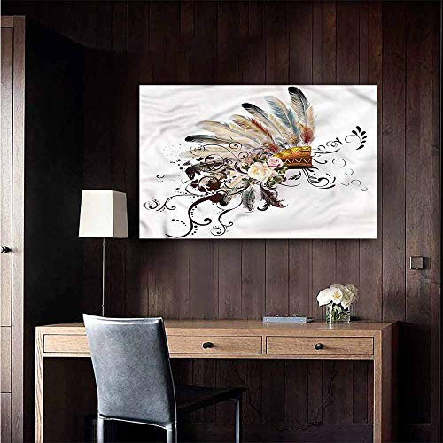 Wall Mural Wallpaper Stickers Feather Floral Arrangement Warm and Romantic Size : W20 x H16