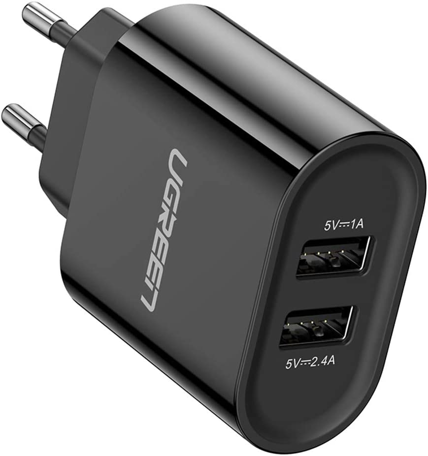 UGREEN Cargador USB Pared con 2 USB Puertos 5V 2.4A y 5V 1A Enchufe Multipuerto Europeo para iPhone XR, XS, X, 8, Samsung Galaxy A70, S7, J6, Xiami Redmi Note 7, Note 6 Pro, Huawei P10 Lite - Negro