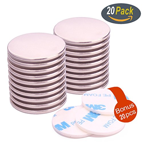 20Pack Neodymium Disc Magnets, Super Strong Rare Earth Magnets with 20Pack Adhesive Backing, for Fridge, Scientific, Crafts, DIY, Office, 1.26D X 0.08H