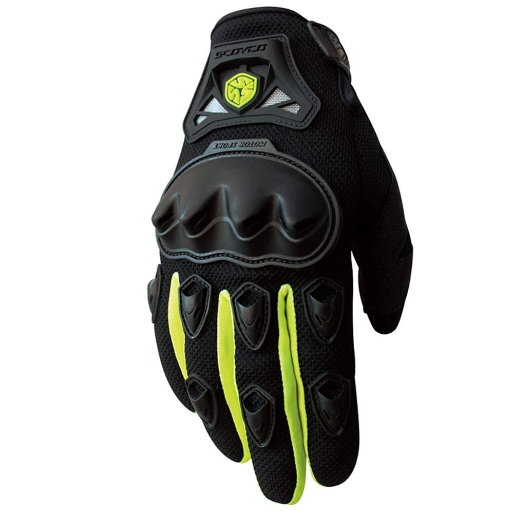 AINIYF Full Finger Motorcycle Gloves   Summer Men's Drop-Off Tactical Gloves Electric Car Racing Off-Road (Color : Green, Size : S)