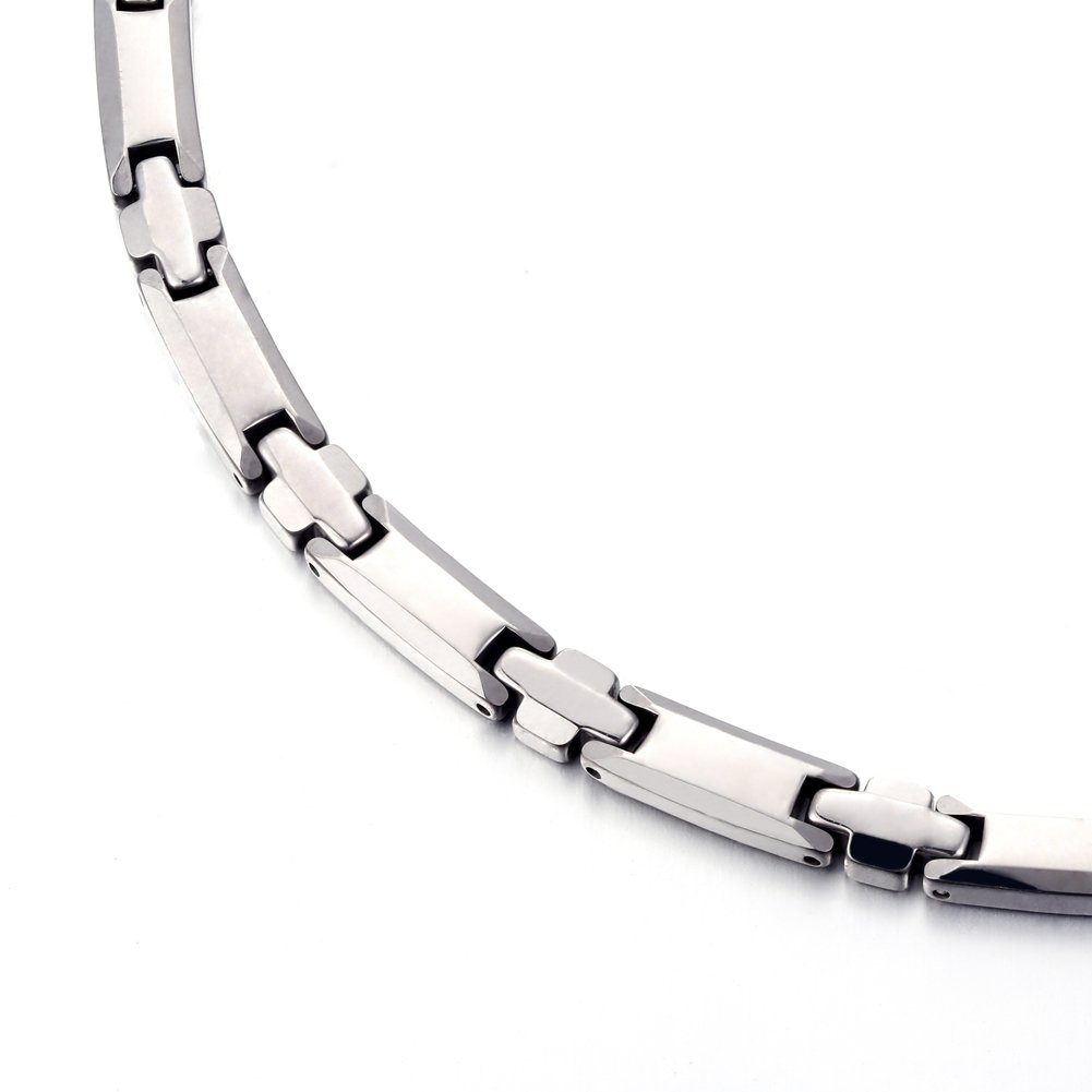 Tungsten Titanium Elegant Magnetic Therapy Necklace Germanium for Promote Blood Circulation (Sliver) by 38 (Image #4)
