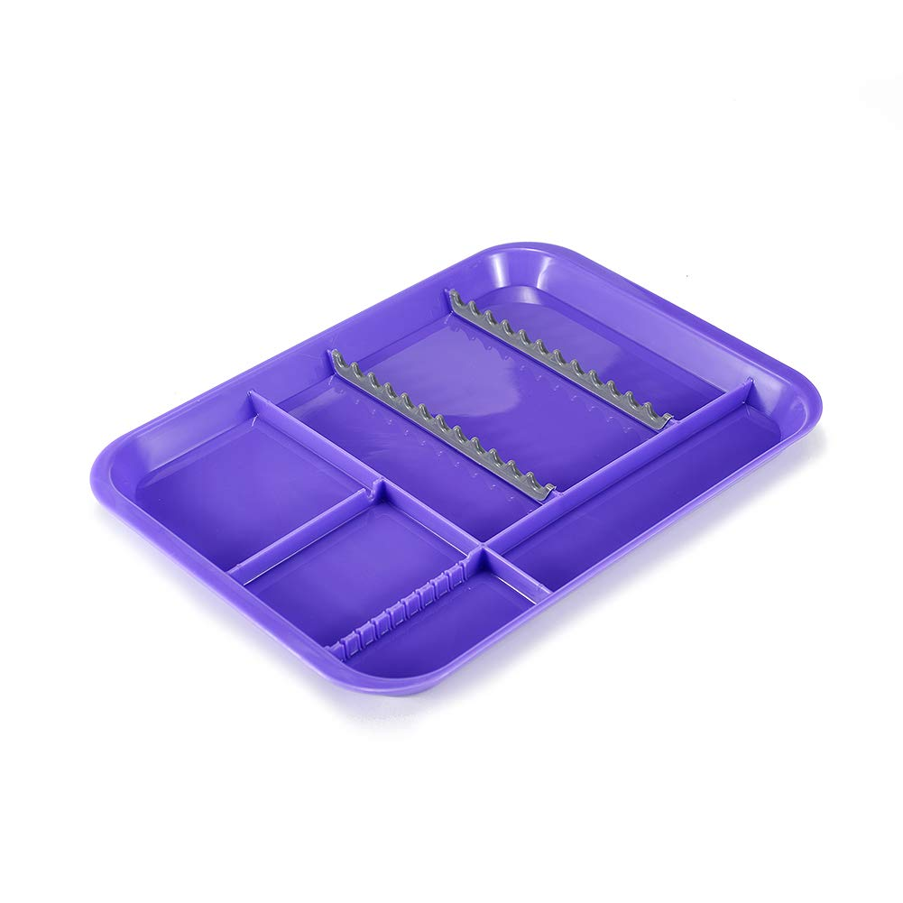 Easyinsmile Autoclavable Dental Instrument Set-Up Procedure Trays Divided (Purple)