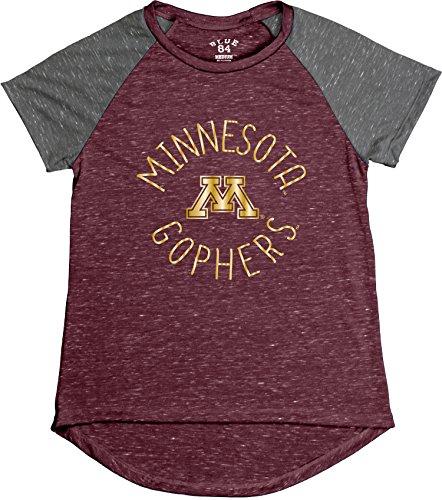 Blue 84 NCAA Minnesota Golden Gophers Women's Gracie Confetti Raglan Tee, Medium, Maroon Minnesota Golden Gophers Tailgate