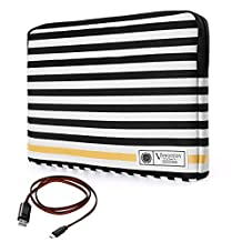 """Vangoddy Luxe G Series Black White Stripe Protect Padded Sleeve for HP Chromebook / Elitebook / Envy / Pavilion / Probook / Stream Series 13.3"""" 14"""" Tablet Laptop + Sync and Charge Cable"""