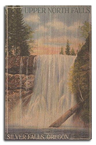 Lantern Press Silver Falls State Park, Oregon - Silver Falls - Vintage Postcard (10x15 Wood Wall Sign, Wall Decor Ready to Hang)