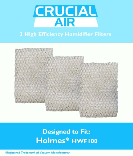 3 Holmes HWF100 Humidifier Filters; Fits Holmes HM630, HM729G, HM7203, HM7203RV, HM7204, HM7808, HM7305, HM730RC, HM7306RC, HM7405 & HM7405RC; Compare to Part # HWF100; Designed & Engineered by Crucial Air