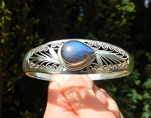 Royaume-Uni disponibilité cc29b 38ef0 Bracelet argent massif 925 en pierre labradorite bleue ...