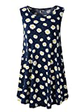 Veranee Women's Sleeveless Swing Tunic Summer Floral Flare Tank Top (M, 6-6)