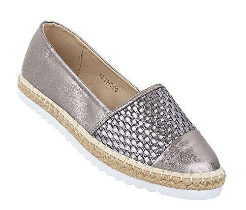 Damen Metallic Espadrilles | Slipper Glitzer | Lack Flats Profilsohle | Ballerinas Schuppen | Schuhe Lack | Ballerina Slippers | Schuhcity24 Silber