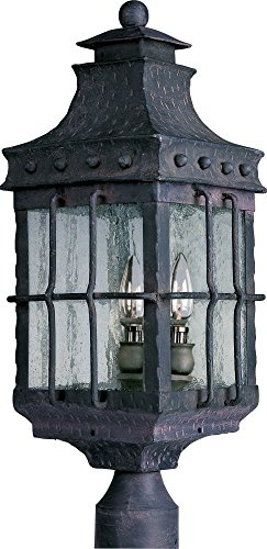 Maxim 30080CDCF Nantucket 3-Light Outdoor Pole/Post Lantern, Country Forge Finish, Seedy Glass, CA Incandescent Incandescent Bulb , 40W Max., Dry Safety Rating, Fabric Shade Material, Rated Lumens