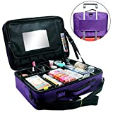 Relavel Makeup Train Case 3 layer Multi Functional Professional Makeup Bag Large Make Up Artist Box Cosmetic Organizer with DIY Dividers Movable Mirror for Cosmetics Makeup Brushes (Large Purple)