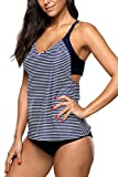 Bathing Suits Women Keyhole Tankini Floral Swimwear Two Piece Swimsuits Medium Waist XL