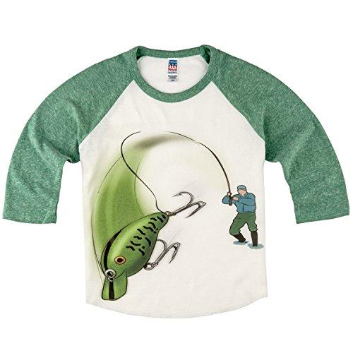 (Shirts That Go Little Boys' Bass Fishing Raglan T-Shirt 10 Green Sleeves)