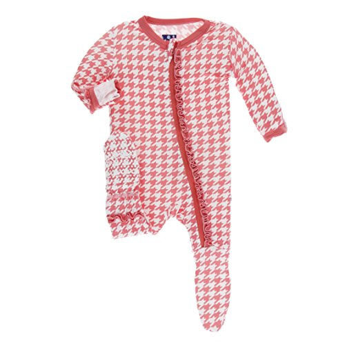 Kickee Pants Little Girls Print Muffin Ruffle Footie with Zipper - English Rose Houndstooth, 9-12 ()