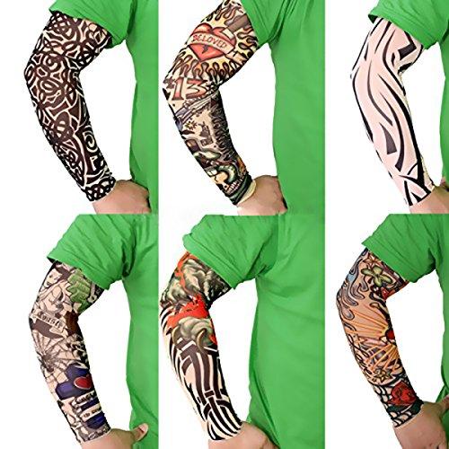f9522dd71 Akstore 6pcs Set Arts Fake Temporary Tattoo Arm Sunscreen Sleeves Designs  Tiger, Crown Heart,