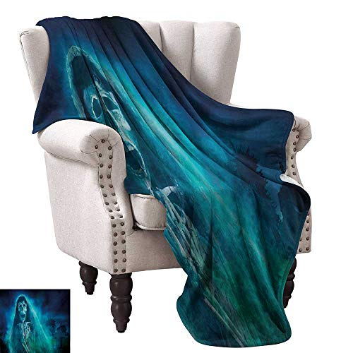 Halloween Warm Blanket Gothic Dark Backdrop with a Dead Ghost Skull Mystical Haunted Horror Themed Digital Art Fall Winter Spring Living Room 54