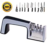 Pesinou Knife and Scissor Sharpener Best Professional Manual Home Kitchen Chefs Choice 4 Stage Sharpening System Kit Global Sharpeners Set for Pocket Straight and Serrated Knives