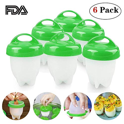 Egg Cooker, Eggibles Egg Cooker, Hard and Soft Make, No Shell, Non Stick Silicone, BPA Free, Egg Boiler, Egg Cups, Egg Poachers, AS SEEN ON TV (6 Pack) by PLZ