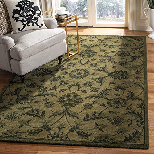 Safavieh Antiquities Collection AT824A Handmade Traditional Olive and Green Wool Area Rug (4' x 6') (Wool Green Rugs)
