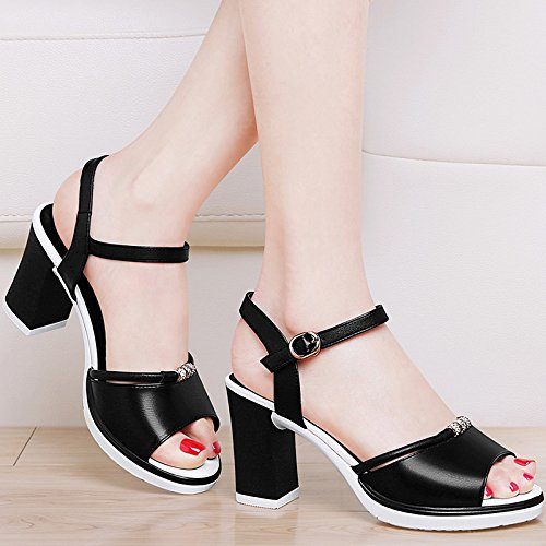 Heeled Match Shoes Black High Shoes Fashion All Summer Buckle Thick Fish KPHY Sandals Student Mouth With 1tx44p