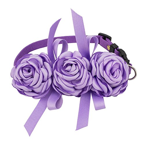 (Pets Soft Suede Flower Collars for Dogs Adjustable (M, Purple))