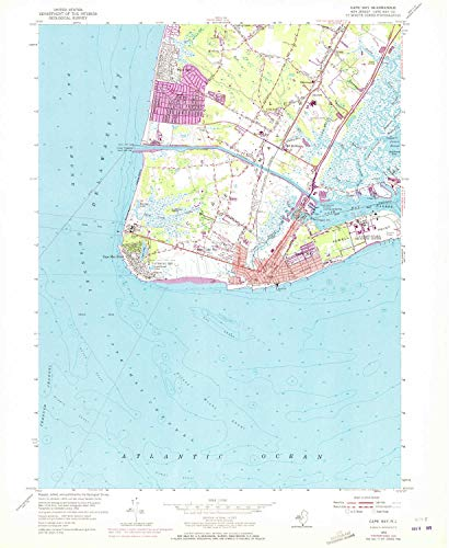 YellowMaps Cape May NJ topo map, 1:24000 Scale, 7.5 X 7.5 Minute, Historical, 1954, Updated 1972, 26.9 x 22.1 in - Tyvek