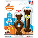 Nylabone Puppy Chew Textured Ring Bone, Puppy Toy Twin Pack, Flavor Medley