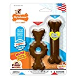 Nylabone Puppy Chew Textured Ring Bone, Puppy Toy Twin Pack, Flavor Medley