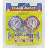 """Yellow Jacket 42001 Manifold with 3-1/8"""" Color-Coded Gauges, psi, R-22/404A/410A (Clamshell)"""
