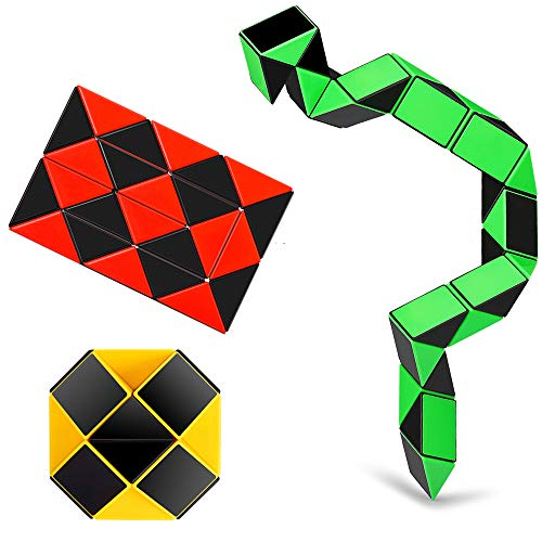 Ganowo Speed Cube Snake Ruler Cube Puzzle Pack | 24 Wedges Twist Puzzle Toys | 3 Magic Snake Cubes Collection in 1 Box | Stickerless Cube Toys -