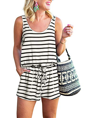 REORIA Womens Casual Summer One Piece Sleeveless Tank Top Striped Playsuits Short Jumpsuit Beach Rompers White+Black Medium]()