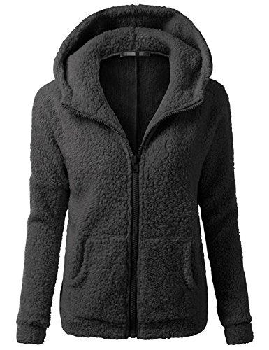Sueetyus Womens Full Zip Up Sherpa Fleece Hoodie Jacket Coat Winter Warm Outwear Black (Fleece Warm Up Jacket Coat)