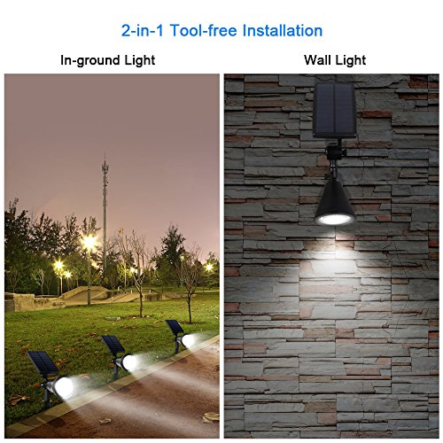 InnoGear 3rd Generation Motion Sensor Solar Lights Outdoor Spotlight Outside Landscape Garden Light LED Security Lighting Auto On/Off for Pathway Yard Walkway Patio Deck, Pack of 2 by InnoGear (Image #5)