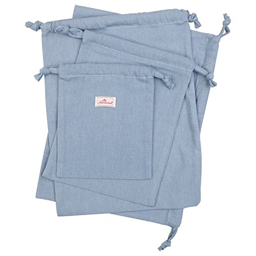 Neoviva Cotton Denim Drawstring Storage Bags for Home and Travel Organization, Set of 4 in Different Sizes, Solid Skyway Blue by NEOVIVA (Image #2)