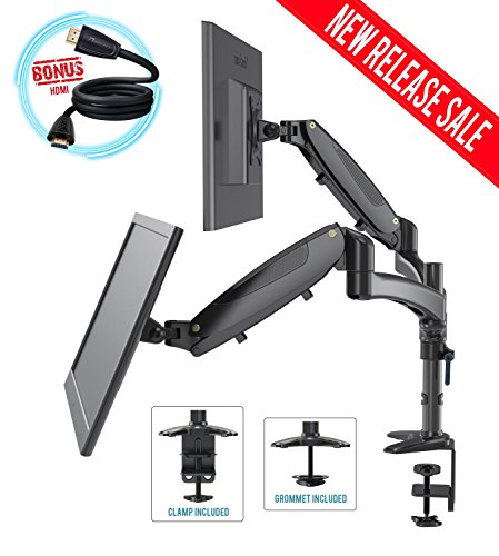 - Dual Monitor Mount Arm Stand Height Adjustable Black Desk Full Motion Free Standing Computer Riser Gas Spring C Clamp & Grommet Cable Management 15 to 27 Inches For Two LCD Display Screens BONUS HDMI