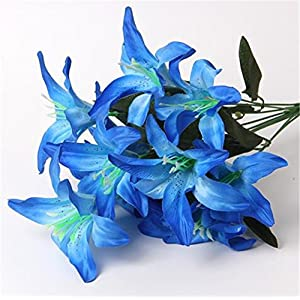 ISADENSER 3-Pack 30 Heads Artificial Lillies Flowers for Wedding Bouquets Home Decor Party Graves Arrangement, Blue Lillies 85