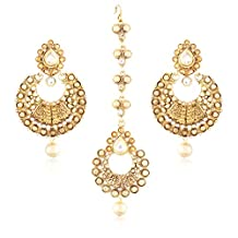 I Jewels Gold Plated Earring Set with Maang Tikka for Women TE118LW