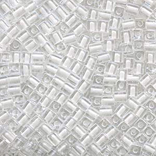 20Gr Clear White Lined Miyuki 4mm Square Cube Glass Seed Beads