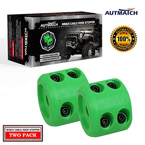 AUTMATCH Winch Cable Hook Stopper (2 Pack) Rubber Shock Absorbent Winch Stopper Best Winch Accessories for Wire & Synthetic Cables ATV Accessories Prevent Pulling Eliminate Abrasion Bouncing Green