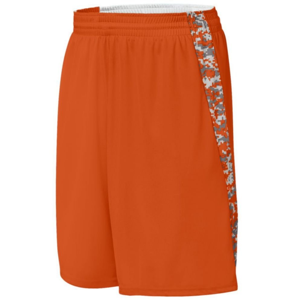 Augusta Activewear Hook Shot Reversible Short, Orange/Orange Digi, Small by Augusta Activewear